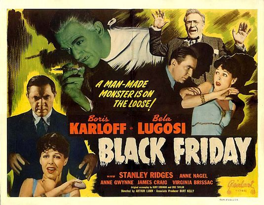 BLACK FRIDAY lobby card Karloff Lugosi