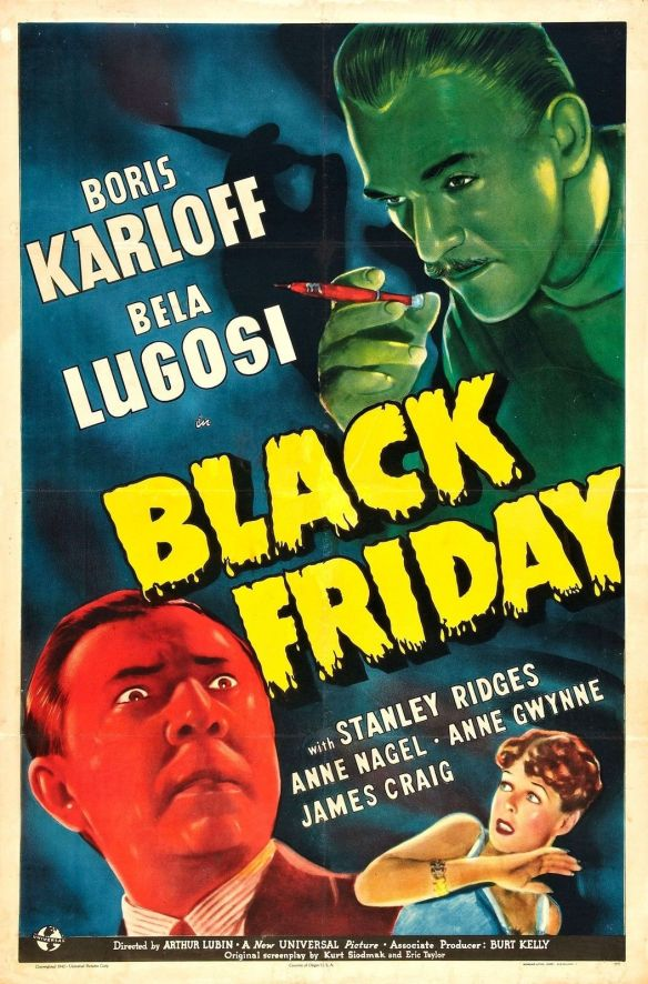 BLACK FRIDAY poster Karloff Lugosi
