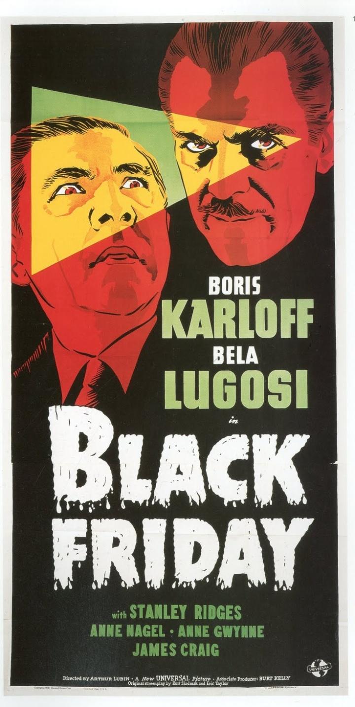 BLACK FRIDAY poster Karloff Lugosi