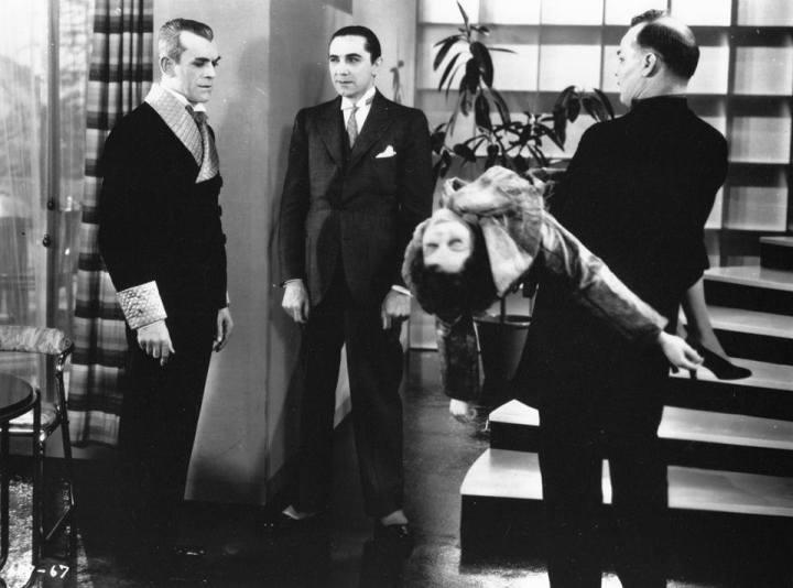 Boris and Bela in %22The Black Cat%22 (1934). Harry Cording Jacqueline Wells