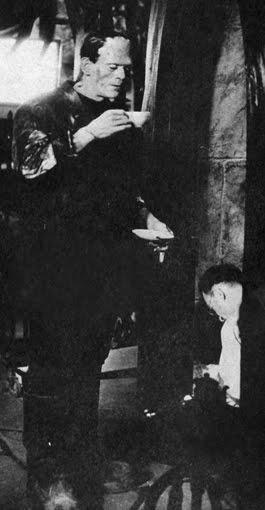 BORIS KARLOFF AS FRANKENSTEIN MONSTER (TEA BREAK)