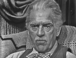 Boris Karloff as Mr. Mycroft in the episode Sting of Death (1955)