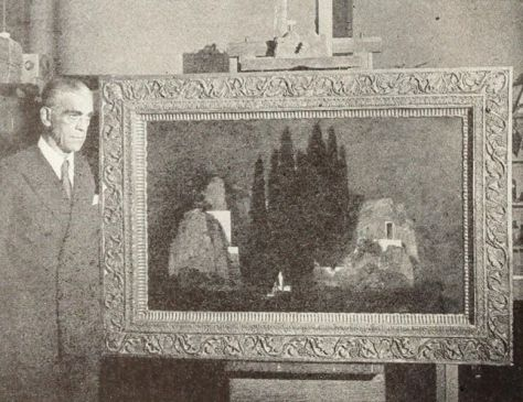 Boris Karloff at Brooklyn Museum to view the Arnold Boecklin painting, 'Isle of the Dead'