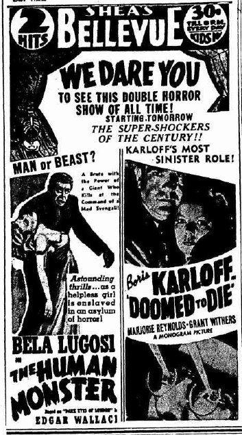 Boris Karloff Bela Lugosi Starlight Ad