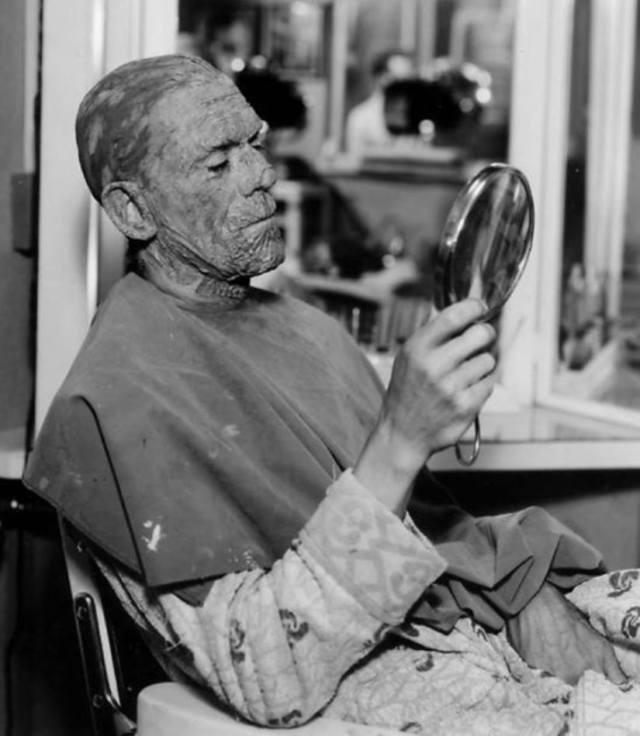 Boris Karloff makep for the Mummy