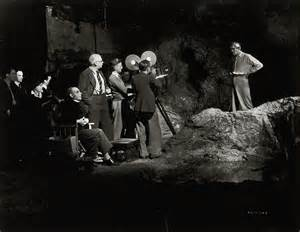 Boris Karloff on the set of %22The Ghoul.%22