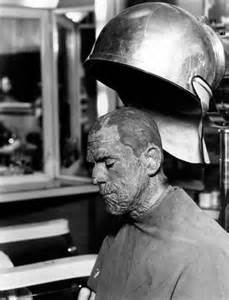 Boris Karloff on the set of The Mummy (Freund)