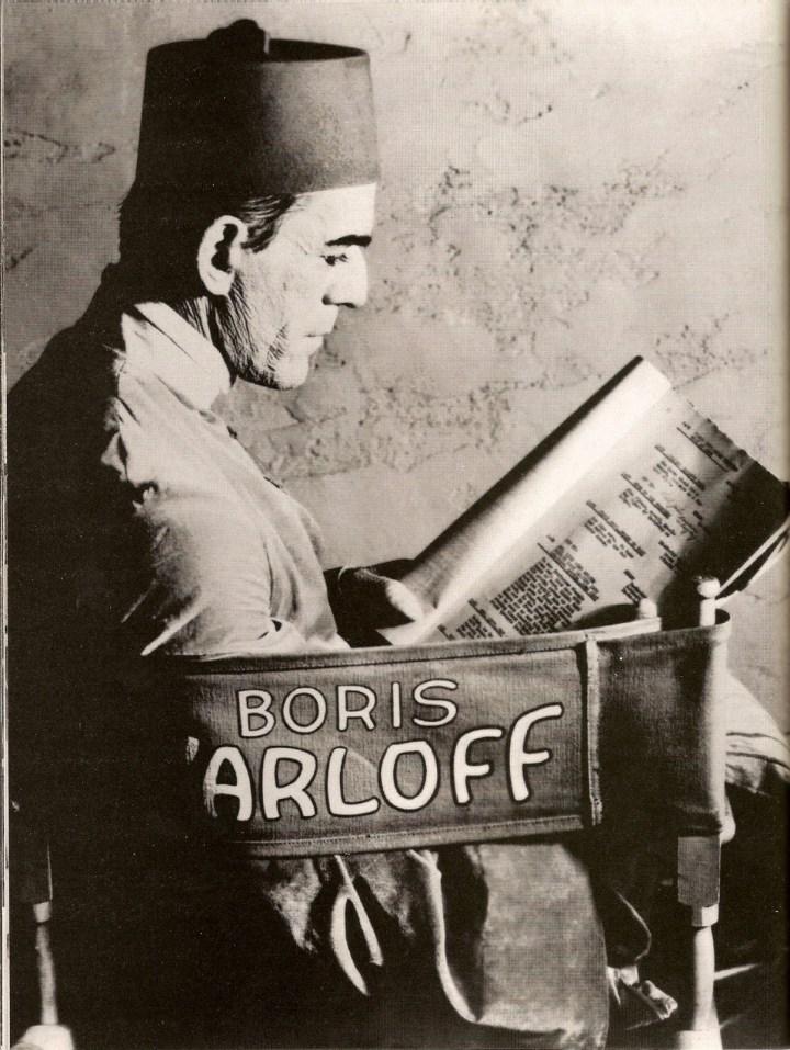 Boris Karloff on the set of the Mummy
