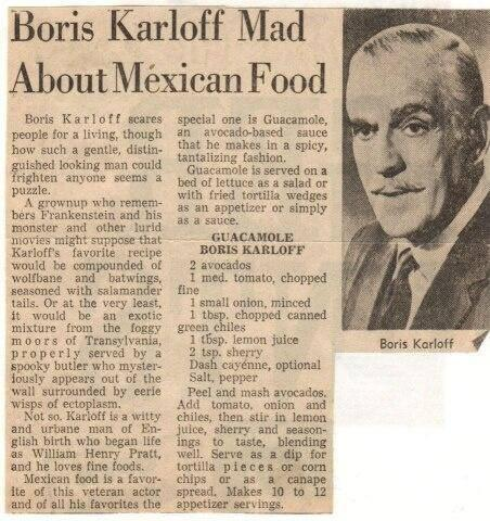 BORIS KARLOFF RECIPEE