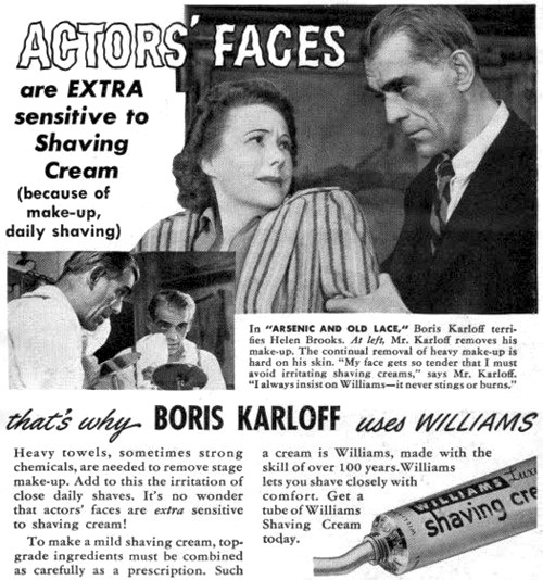 Boris Karloff shaving cream ad