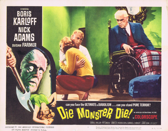 Die Monster Die lobby card. Boris Karloff, Nick Adams, Susan Farmer