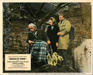 Die Monster Die lobby card. Boris Karloff, Susan Farmer, Nick Adams