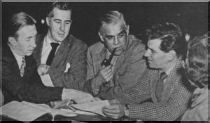 John Burrell, Peter Lawrence, Boris Karloff, Leonard Bernstein, Trude Rittman meeting for Peter Pan