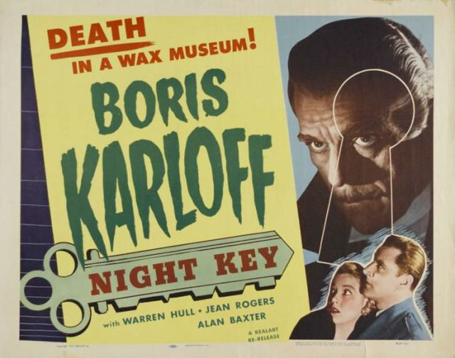 NIGHT KEY theatrical poster. Boris Karloff