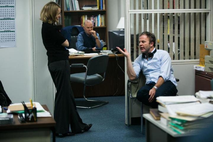 SPOTLIGHT (2015) Tom McCarthy directing Michael Keaton, Rachel McAdams