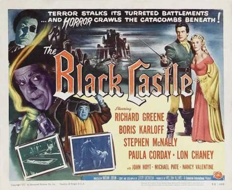 The Black Castle lobby card Karloff Chaney