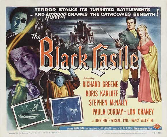 The Black Castle lobby card Karloff Chaney