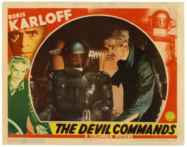 THE DEVIL COMMANDS LOBBY CARD Boris Karloff