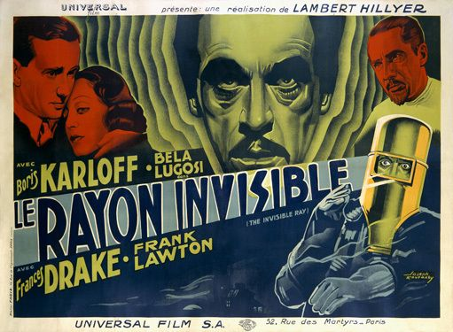 THE INVISIBLE RAY lobby card. Karloff Lugosi