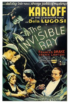 THE INVISIBLE RAY theatrical poster. Karloff Lugosi