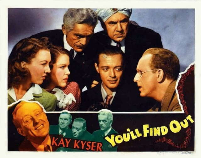 YOU'LL FIND OUT LOBBY CARD BORIS KARLOFF BELA LUGOSI PETER LORRE KAY KYSER