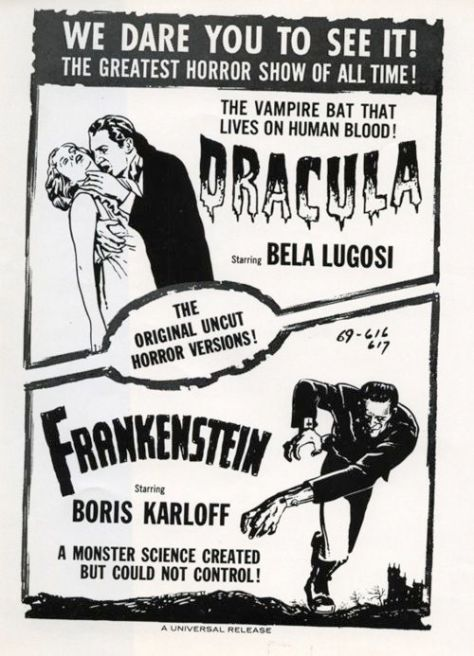 Dracula (1931 Tod Browning) Frankenstein (1931 James Whale). Double bill