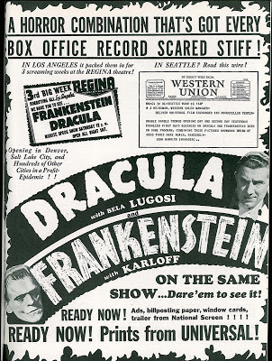 Dracula Frankenstein 1938 theater ad