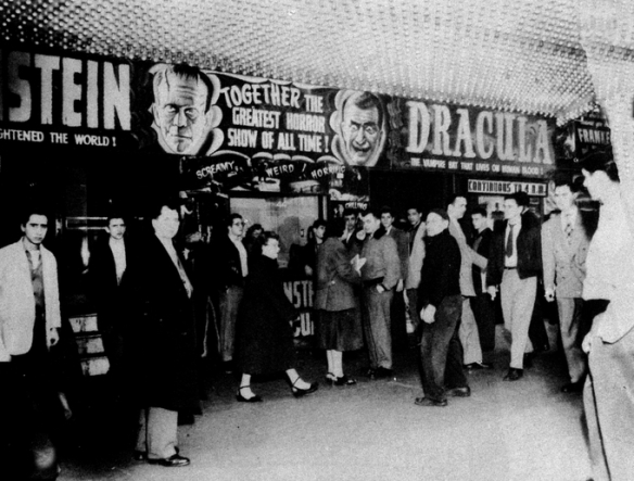 Dracula Frankenstein 1938 theater showing