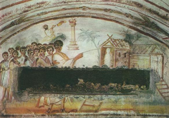 4th century Raising of Lazarus Fresco (Christ with magic wand) Catacomb cubiculum O, Rome