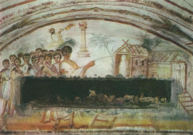4th century Raising of Lazarus Fresco (Christ with magic wand) Catacomb cubiculum O, Rome