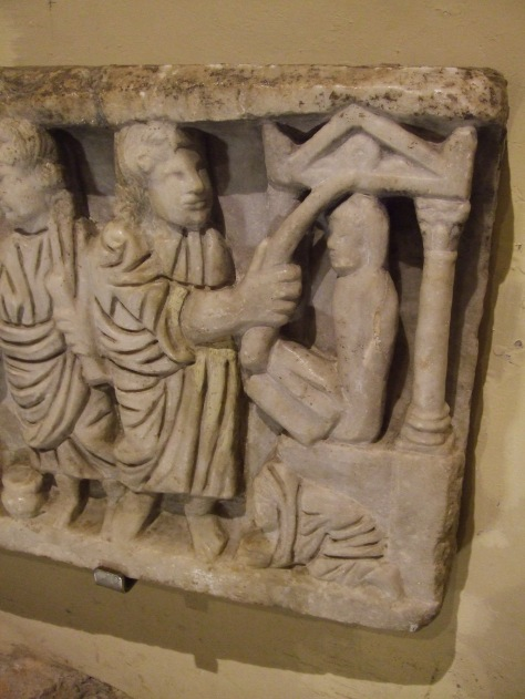 4th century sarcophagus depicting Jesus using a wand to raise Lazarus from the dead