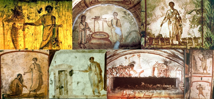 Early catacomb art (3rd to 5th centuries) of Christ performing miracles. Going from let to right, images 1 (raising of Lazarus), 3,5 (raising of Lazarus) and 6 depict Christ using a magic wand-like tool to perform miracles