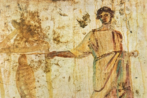 Jesus raising the dead with a wand, Roman catacomb, 3rd century)