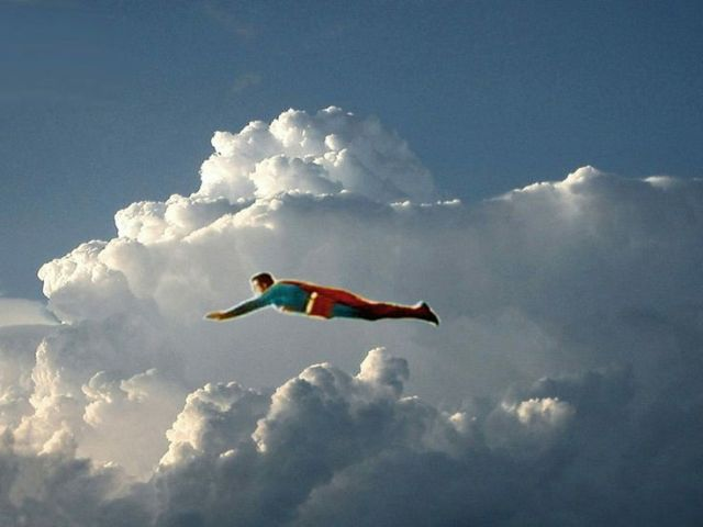 Superman in clouds