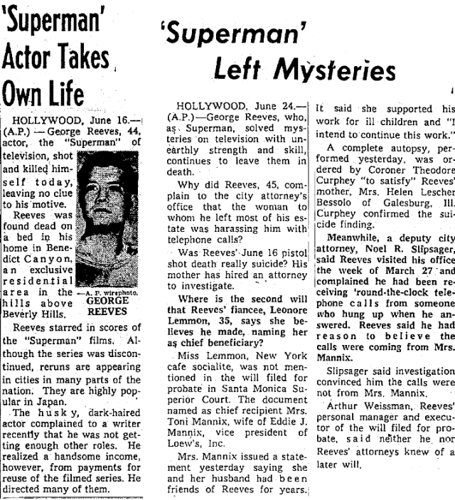 TV'S SUPERMAN KILLS SELF 1959
