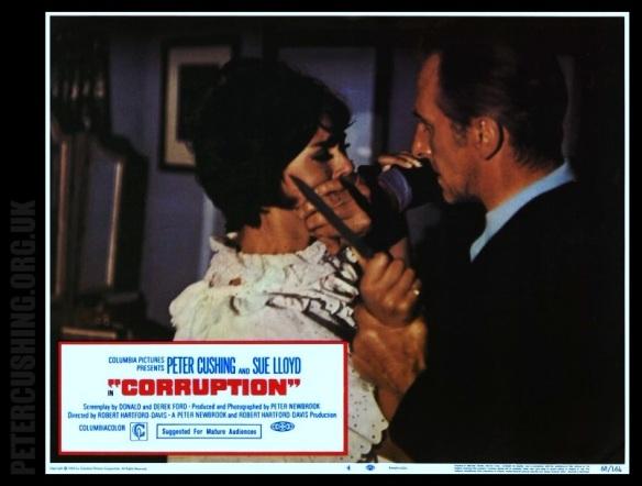 PETER CUSHING, SUE LLOYD, ANTHONY BOOTH KATE OMARA DAVE LODGE VALERIE VAN OST 'CORRUPTION' 1968 Dir ROBERT HARTFORD DAVIS PETERCUSHING.ORG.UK