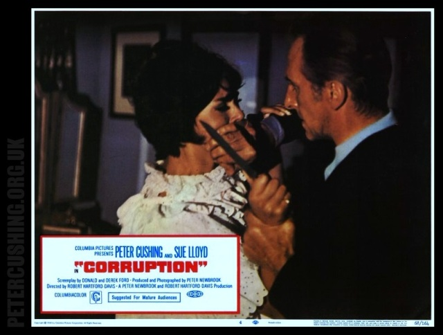 PETER CUSHING, SUE LLOYD, ANTHONY BOOTH KATE OMARA DAVE LODGE VALERIE VAN OST 'CORRUPTION' 1968 Dir ROBERT HARTFORD DAVIS PETERCUSHING.ORG.UK