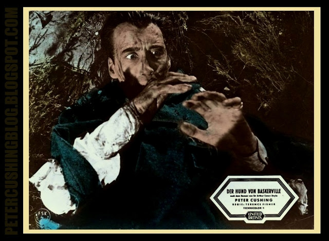 PETER CUSHING CHRISTOPHER LEE ANDRE MORELL FRANCIS DE WOLFF MARLA LANDI 'THE HOUND OF THE BASKER VILLES' HAMMER FILMS 1958 Dir TERENCE FISHER PETERCUSHINGBLOG.BLOGSPOT.COM