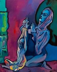 The Madonna teaching her Christ child in prayer ©2018 Alfred Eaker