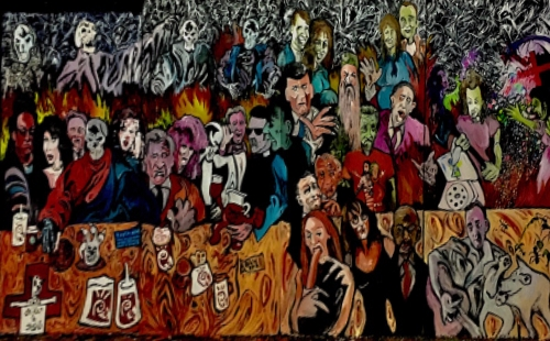 """Brother Cobweb's Last Supper"" (7x16ft, painted on wood) @Alfred Eaker 2017"